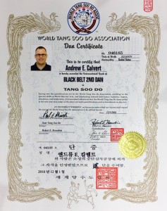 Andrew Calvert, Black Belt 2nd Dan